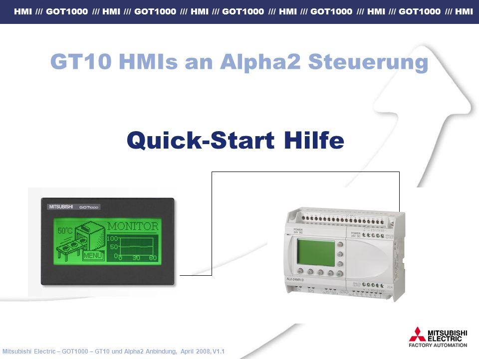 HMI /// GOT1000 /// HMI /// GOT1000 /// HMI /// GOT1000 /// HMI /// GOT1000 /// HMI /// GOT1000 /// HMI Mitsubishi Electric – GOT1000 – GT10 und Alpha2 Anbindung, April 2008, V1.1 GT10 HMIs an Alpha2 Steuerung Quick-Start Hilfe