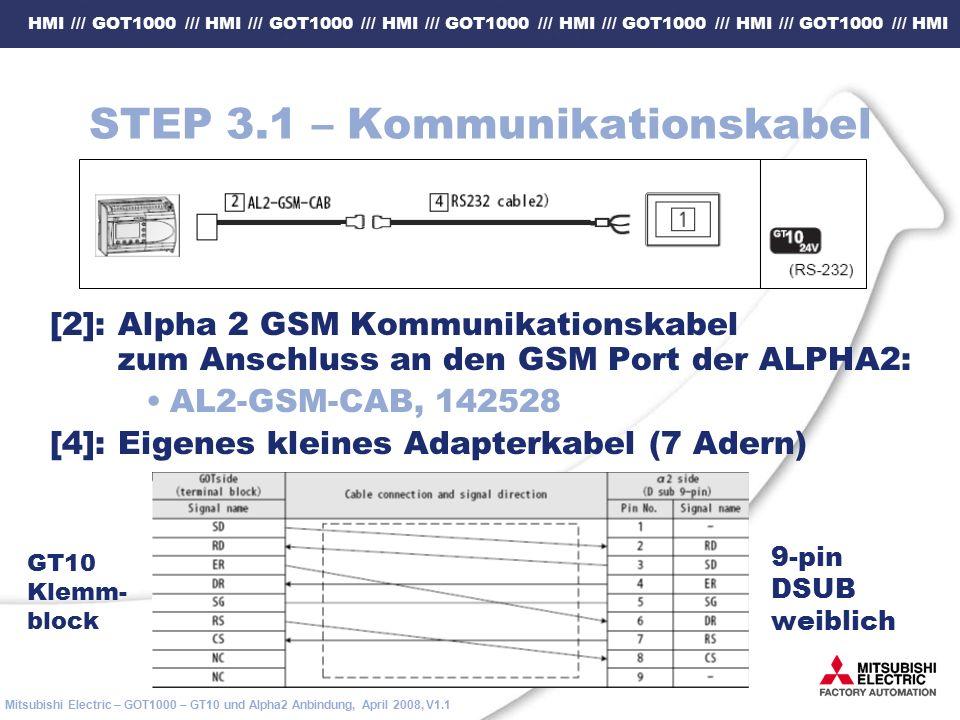 HMI /// GOT1000 /// HMI /// GOT1000 /// HMI /// GOT1000 /// HMI /// GOT1000 /// HMI /// GOT1000 /// HMI Mitsubishi Electric – GOT1000 – GT10 und Alpha2 Anbindung, April 2008, V1.1 STEP 3.1 – Kommunikationskabel [2]: Alpha 2 GSM Kommunikationskabel zum Anschluss an den GSM Port der ALPHA2: AL2-GSM-CAB, 142528 [4]: Eigenes kleines Adapterkabel (7 Adern) 9-pin DSUB weiblich GT10 Klemm- block