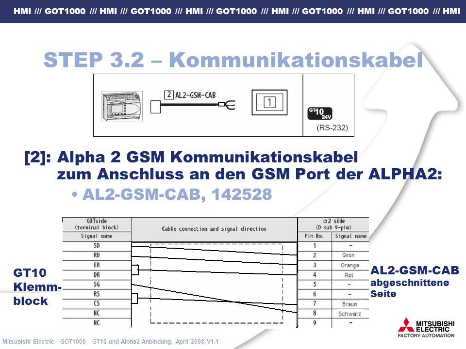 HMI /// GOT1000 /// HMI /// GOT1000 /// HMI /// GOT1000 /// HMI /// GOT1000 /// HMI /// GOT1000 /// HMI Mitsubishi Electric – GOT1000 – GT10 und Alpha2 Anbindung, April 2008, V1.1 STEP 3.2 – Kommunikationskabel [2]: Alpha 2 GSM Kommunikationskabel zum Anschluss an den GSM Port der ALPHA2: AL2-GSM-CAB, 142528 AL2-GSM-CAB abgeschnittene Seite GT10 Klemm- block