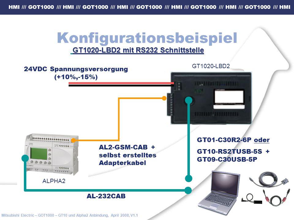 HMI /// GOT1000 /// HMI /// GOT1000 /// HMI /// GOT1000 /// HMI /// GOT1000 /// HMI /// GOT1000 /// HMI Mitsubishi Electric – GOT1000 – GT10 und Alpha2 Anbindung, April 2008, V1.1 Konfigurationsbeispiel GT1020-LBD2 mit RS232 Schnittstelle GT1020-LBD2 mit RS232 Schnittstelle 24VDC Spannungsversorgung (+10%,-15%) GT01-C30R2-6P oder GT10-RS2TUSB-5S + GT09-C30USB-5P AL2-GSM-CAB + selbst erstelltes Adapterkabel ALPHA2 GT1020-LBD2 AL-232CAB