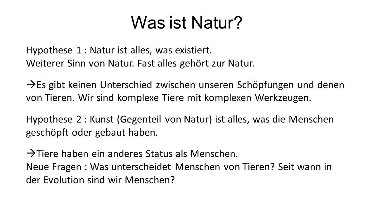 Was ist Natur. Hypothese 1 : Natur ist alles, was existiert.