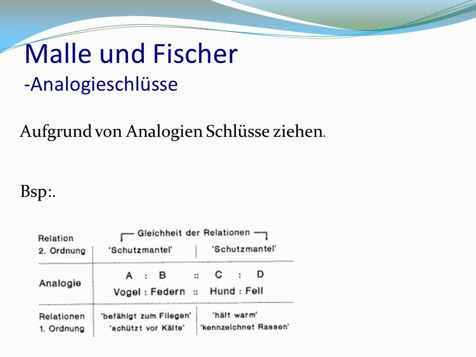 Malle und Fischer -Analogieschlüsse Aufgrund von Analogien Schlüsse ziehen. Bsp:.