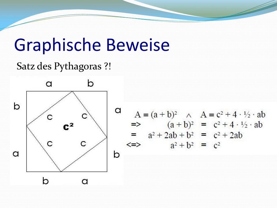 Graphische Beweise Satz des Pythagoras !