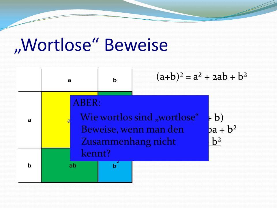 """""""Wortlose Beweise (a+b)² = a² + 2ab + b² (a + b)² = (a + b)(a + b) = a² + ab + ba + b² = a² + 2ab + b² ABER: Wie wortlos sind """"wortlose Beweise, wenn man den Zusammenhang nicht kennt?"""