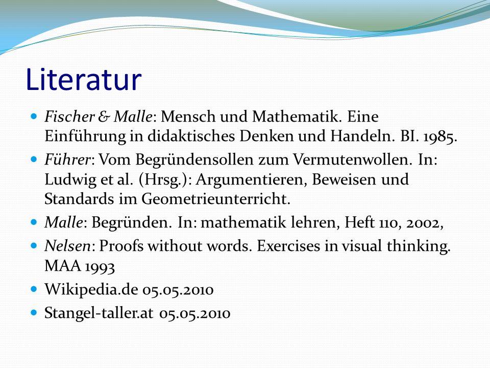 Literatur Fischer & Malle: Mensch und Mathematik.