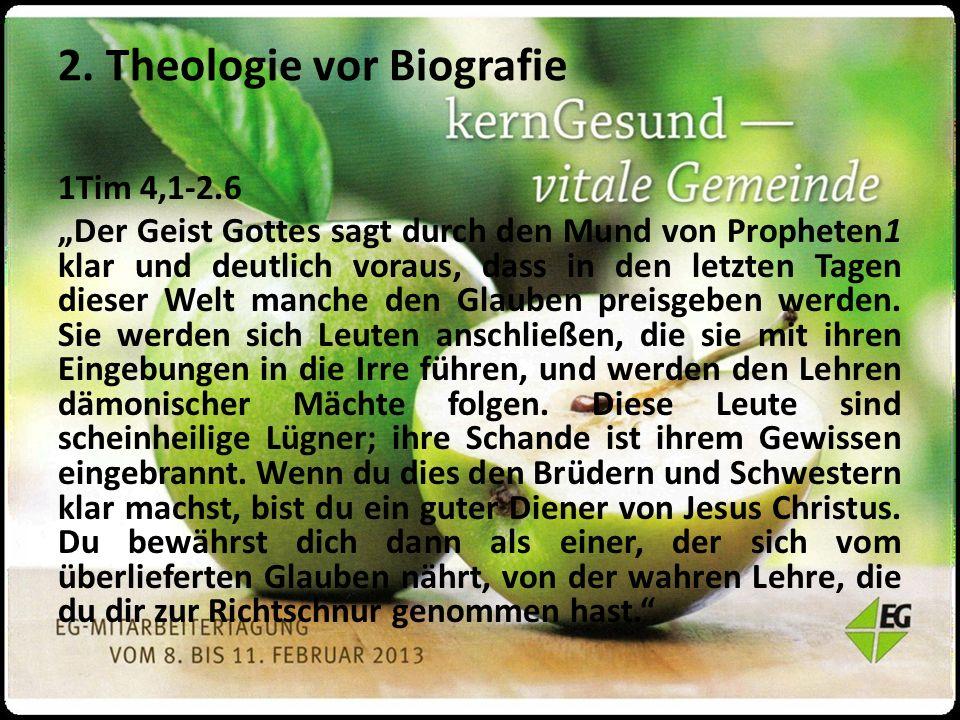 """1Tim 4,1-2.6 """"Der Geist Gottes sagt durch den Mund von Propheten1 klar und deutlich voraus, dass in den letzten Tagen dieser Welt manche den Glauben preisgeben werden."""