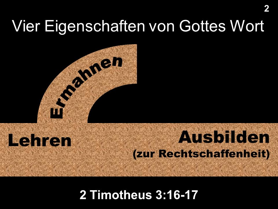 Vier Eigenschaften von Gottes Wort 2 2 Lehren Ausbilden (zur Rechtschaffenheit) 2 Timotheus 3:16-17 Translate text under this black shape