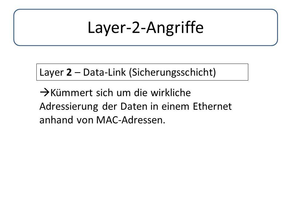 Layer-2-Angriffe Layer 2 – Data-Link (Sicherungsschicht)  Kümmert sich um die wirkliche Adressierung der Daten in einem Ethernet anhand von MAC-Adres