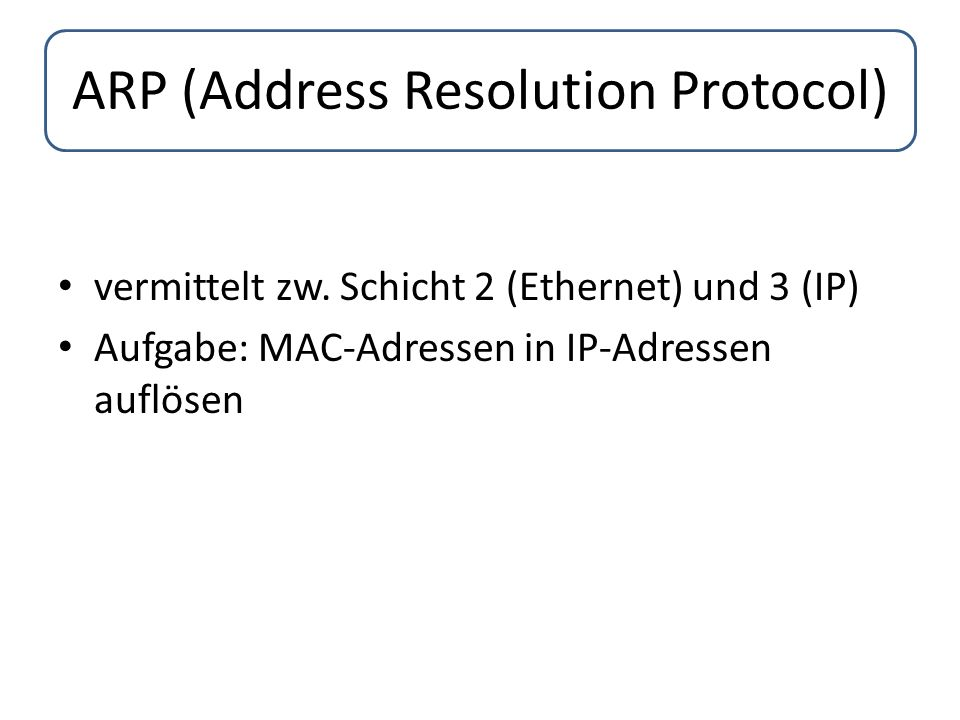 ARP (Address Resolution Protocol) vermittelt zw.