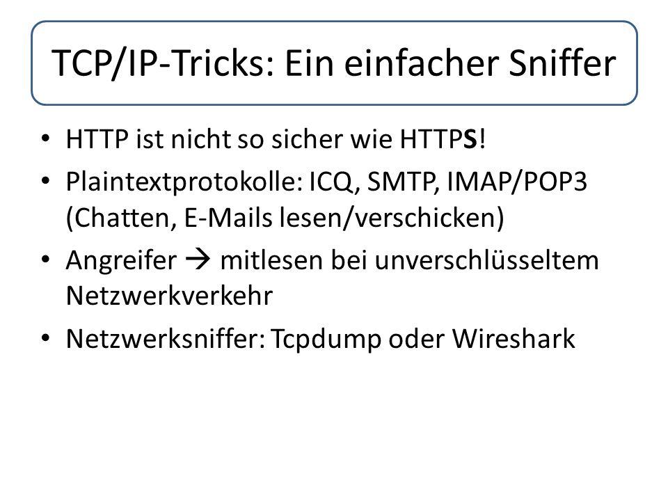 pip install impackt pcapy #!/usr/bin/python import sys import getopt import pcapy from impacket.ImpactDecoder import EthDecoder dev = eth=0 filter = arp decoder =EthDecoder() # This function will be called for every packet # and just print it def handle_packet(hdr, data): print decoder.decode(data) def usage(): print sys.argv[0] + -i -f sys.exit(1) # Parsing parameter try: cmd_opts = f:i: opts, args = getopt.getopt(sys.argv[1:], cmd_opts) except getopt.GetoptError: usage() for opt in opts: if opt[0] == -f : filter = opt[1] elif opt[0] == -i : dev = opt[1] else: usage() # Open device in promisc mode pcap = pcapy.open_live(dev, 1500, 0, 100) # Set pcap filter pcap.setfilter(filter) #Start sniffing pcap.loop(0, handle_packet) Ein einfacher Sniffer dev = eth=0  Netzwerkkarte liest alle Pakete ein filter = arp  PCAP-Filter  Nur ARP- Pakete pcap = pcapy.open_live(dev, 1500, 0, 100)  Öffnet Netzwerkkarte zum Einlesen der Pakete  (Netzwerkinterface, snaplen, Promiscuous-Modus, Timeoutwert) Endlosschleife:  lesen von Paketen aus Netzwerkkarte  dekodiert jedes Paket mit Hilfe der EthDecoder-Klasse: handle_packet()