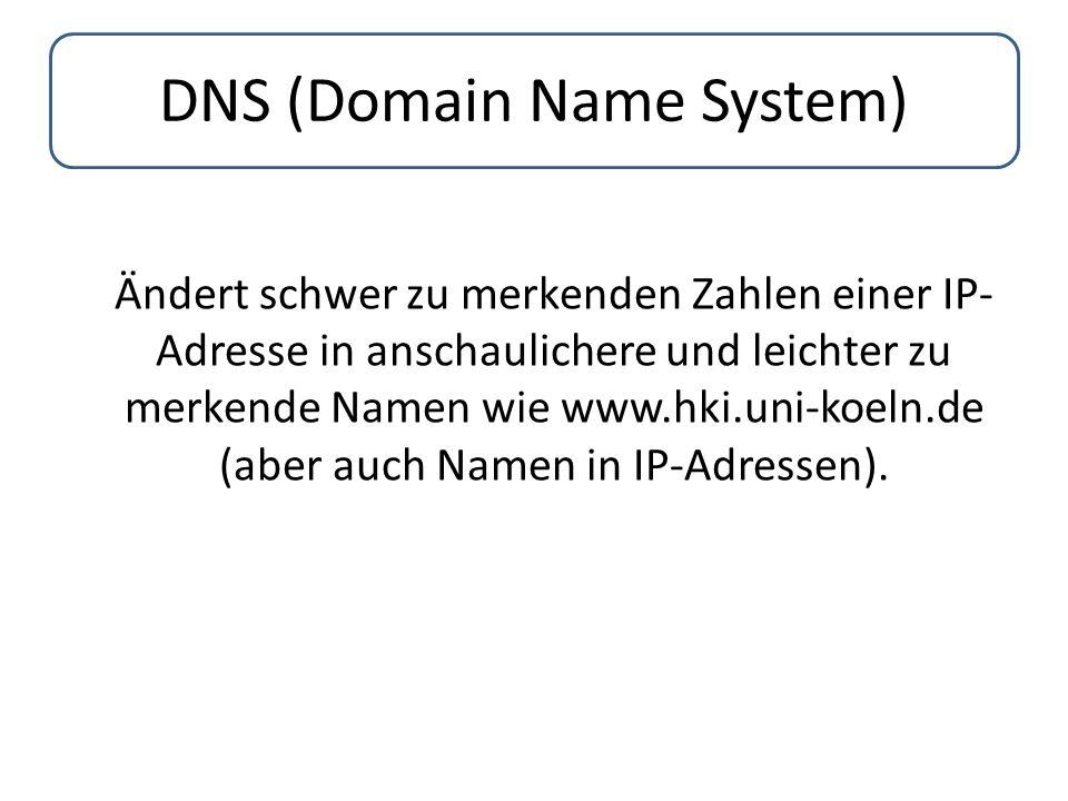 DNS (Domain Name System) Ändert schwer zu merkenden Zahlen einer IP- Adresse in anschaulichere und leichter zu merkende Namen wie www.hki.uni-koeln.de