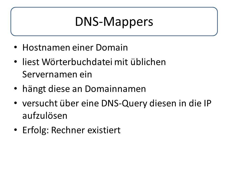DNS-Mappers Hostnamen einer Domain liest Wörterbuchdatei mit üblichen Servernamen ein hängt diese an Domainnamen versucht über eine DNS-Query diesen i