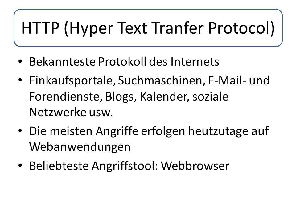 HTTP (Hyper Text Tranfer Protocol) Bekannteste Protokoll des Internets Einkaufsportale, Suchmaschinen, E-Mail- und Forendienste, Blogs, Kalender, sozi