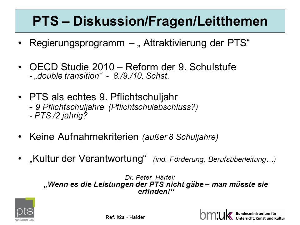 """Ref. I/2a - Haider PTS – Diskussion/Fragen/Leitthemen Regierungsprogramm – """" Attraktivierung der PTS"""" OECD Studie 2010 – Reform der 9. Schulstufe - """"d"""