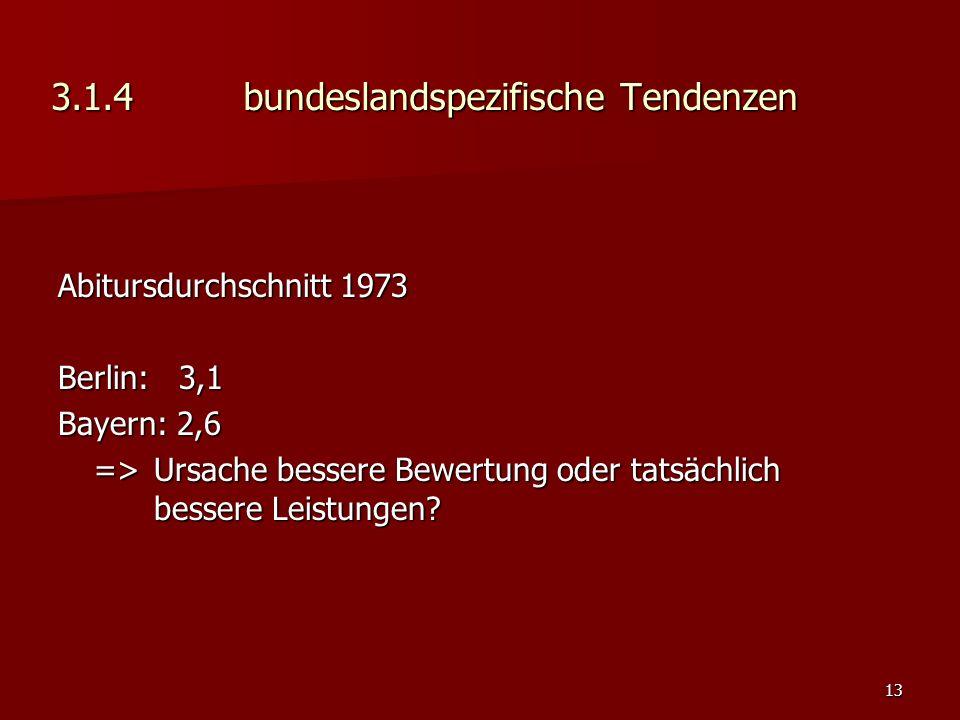 13 3.1.4bundeslandspezifische Tendenzen Abitursdurchschnitt 1973 Berlin: 3,1 Bayern: 2,6 => Ursache bessere Bewertung oder tatsächlich bessere Leistungen
