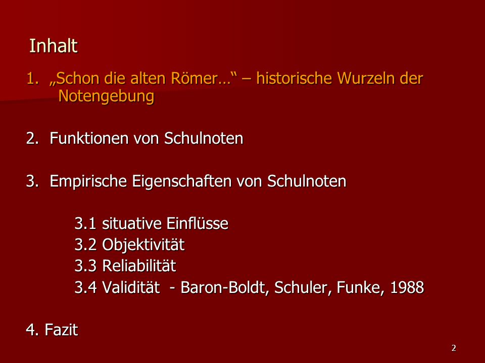 """2 Inhalt 1. """"Schon die alten Römer… – historische Wurzeln der Notengebung 2."""