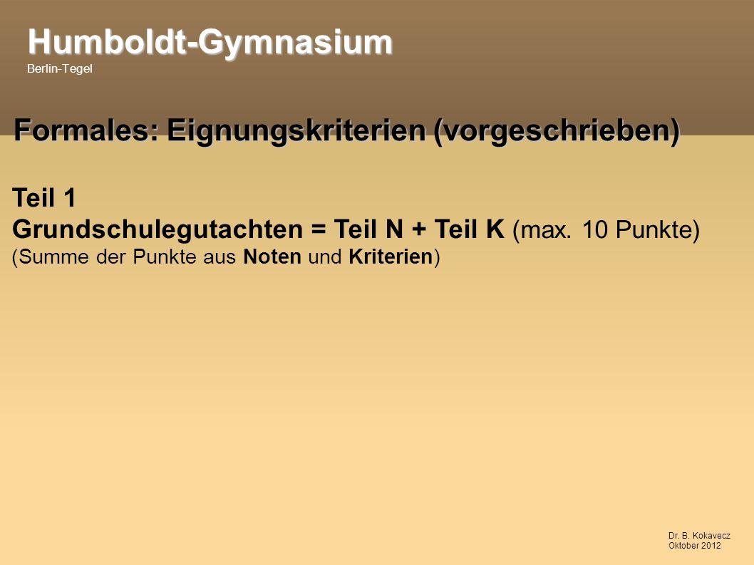 Humboldt-Gymnasium Humboldt-Gymnasium Berlin-Tegel Dr.