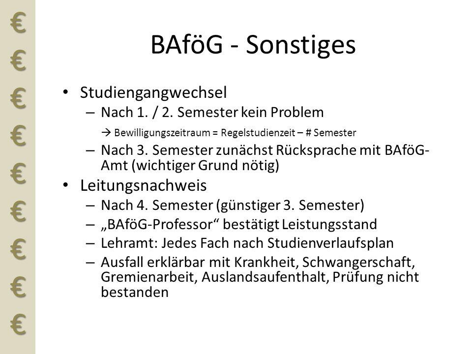 €€€€€€€€€ BAföG - Sonstiges Studiengangwechsel – Nach 1. / 2. Semester kein Problem  Bewilligungszeitraum = Regelstudienzeit – # Semester – Nach 3. S