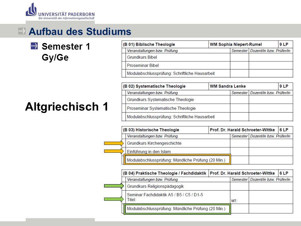 Aufbau des Studiums Semester 1 Gy/Ge Altgriechisch 1