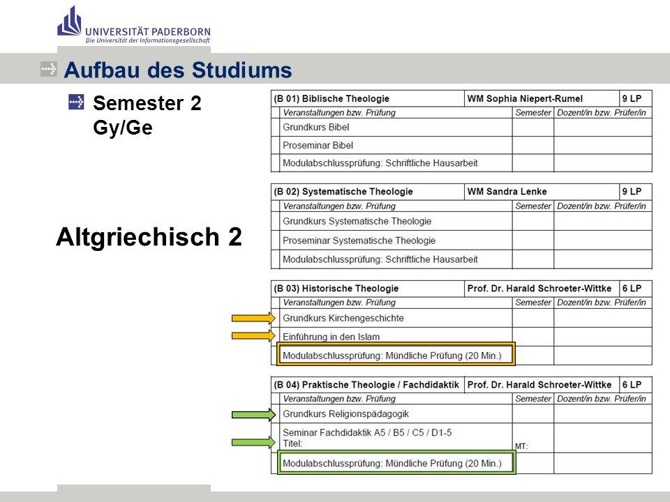 Aufbau des Studiums Semester 2 Gy/Ge Altgriechisch 2