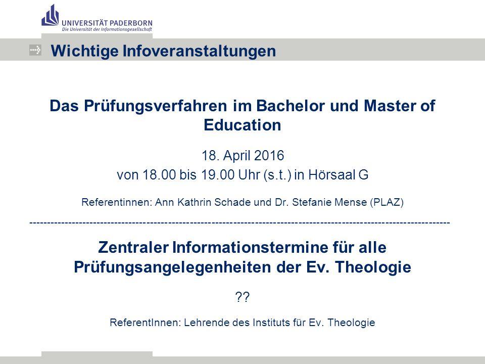 Das Prüfungsverfahren im Bachelor und Master of Education 18.
