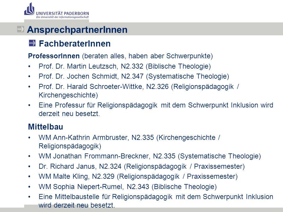 ProfessorInnen (beraten alles, haben aber Schwerpunkte) Prof.