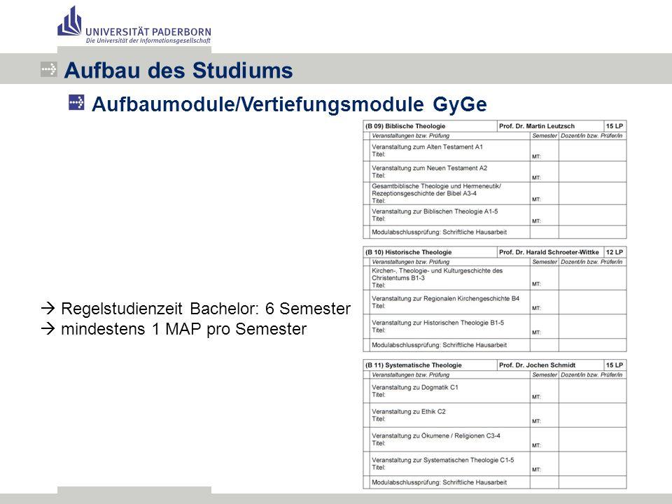 Aufbau des Studiums Aufbaumodule/Vertiefungsmodule GyGe  Regelstudienzeit Bachelor: 6 Semester  mindestens 1 MAP pro Semester