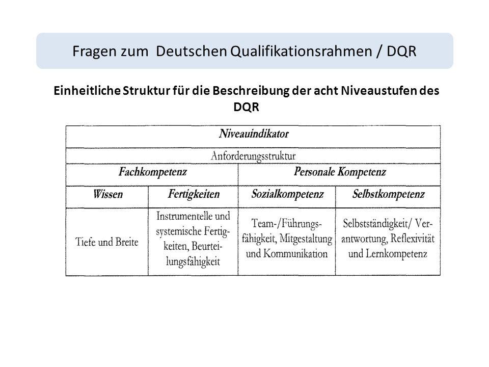 Fragen zum Deutschen Qualifikationsrahmen / DQR Einheitliche Struktur für die Beschreibung der acht Niveaustufen des DQR