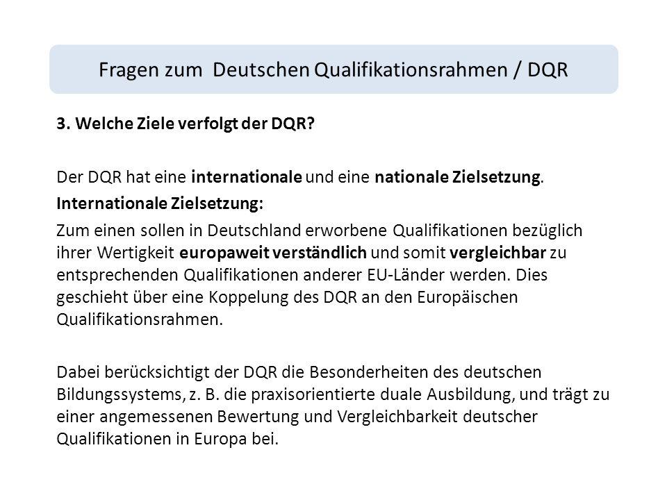 Fragen zum Deutschen Qualifikationsrahmen / DQR 3.