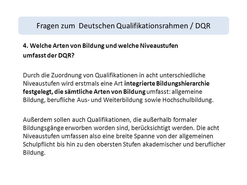 Fragen zum Deutschen Qualifikationsrahmen / DQR 4.