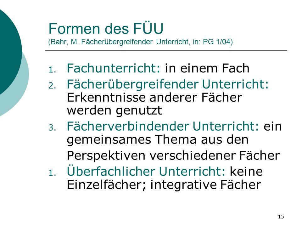 15 Formen des FÜU (Bahr, M. Fächerübergreifender Unterricht, in: PG 1/04) 1.