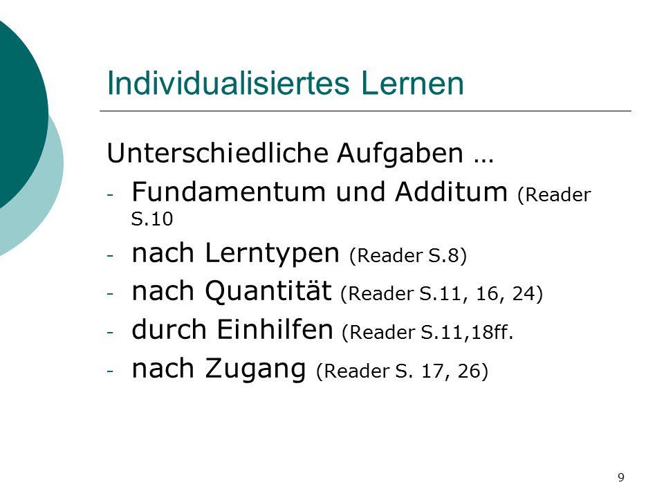 9 Individualisiertes Lernen Unterschiedliche Aufgaben … - Fundamentum und Additum (Reader S.10 - nach Lerntypen (Reader S.8) - nach Quantität (Reader S.11, 16, 24) - durch Einhilfen (Reader S.11,18ff.