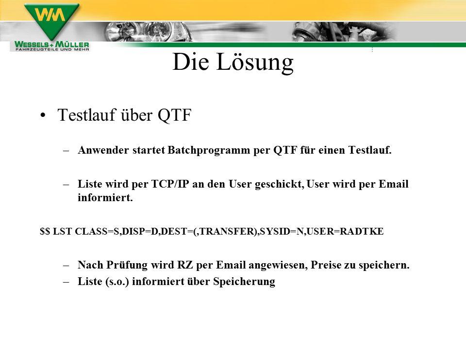 Testlauf über QTF –Anwender startet Batchprogramm per QTF für einen Testlauf. –Liste wird per TCP/IP an den User geschickt, User wird per Email inform