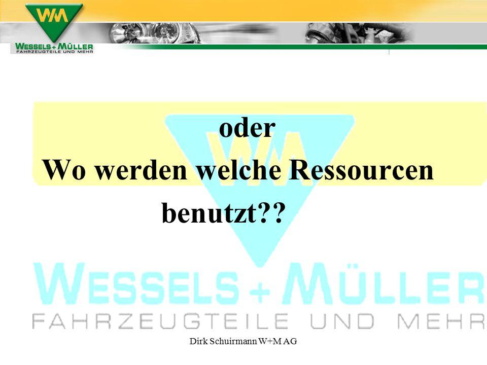 Dirk Schuirmann W+M AG oder Wo werden welche Ressourcen benutzt??