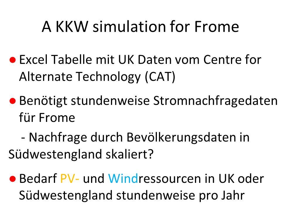 A KKW simulation for Frome ●Excel Tabelle mit UK Daten vom Centre for Alternate Technology (CAT) ●Benötigt stundenweise Stromnachfragedaten für Frome - Nachfrage durch Bevölkerungsdaten in Südwestengland skaliert.