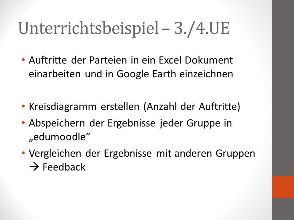"""Unterrichtsbeispiel – 3./4.UE Auftritte der Parteien in ein Excel Dokument einarbeiten und in Google Earth einzeichnen Kreisdiagramm erstellen (Anzahl der Auftritte) Abspeichern der Ergebnisse jeder Gruppe in """"edumoodle Vergleichen der Ergebnisse mit anderen Gruppen  Feedback"""