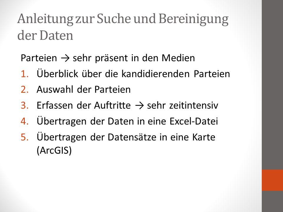 Anleitung zur Suche und Bereinigung der Daten Parteien → sehr präsent in den Medien 1.Überblick über die kandidierenden Parteien 2.Auswahl der Parteie