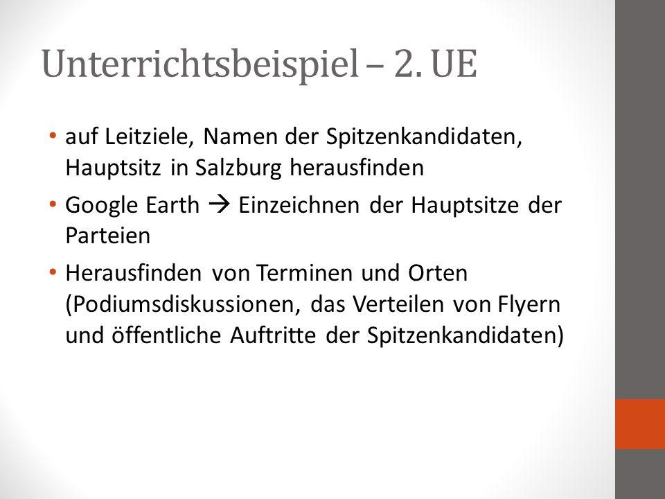 Unterrichtsbeispiel – 2. UE auf Leitziele, Namen der Spitzenkandidaten, Hauptsitz in Salzburg herausfinden Google Earth  Einzeichnen der Hauptsitze d