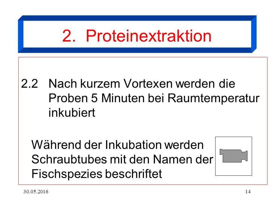 30.05.201614 2. Proteinextraktion 2.2Nach kurzem Vortexen werden die Proben 5 Minuten bei Raumtemperatur inkubiert Während der Inkubation werden Schra