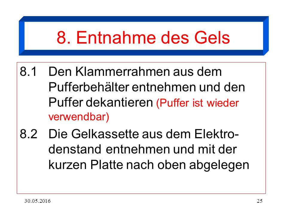 30.05.201625 8. Entnahme des Gels 8.1Den Klammerrahmen aus dem Pufferbehälter entnehmen und den Puffer dekantieren (Puffer ist wieder verwendbar) 8.2D