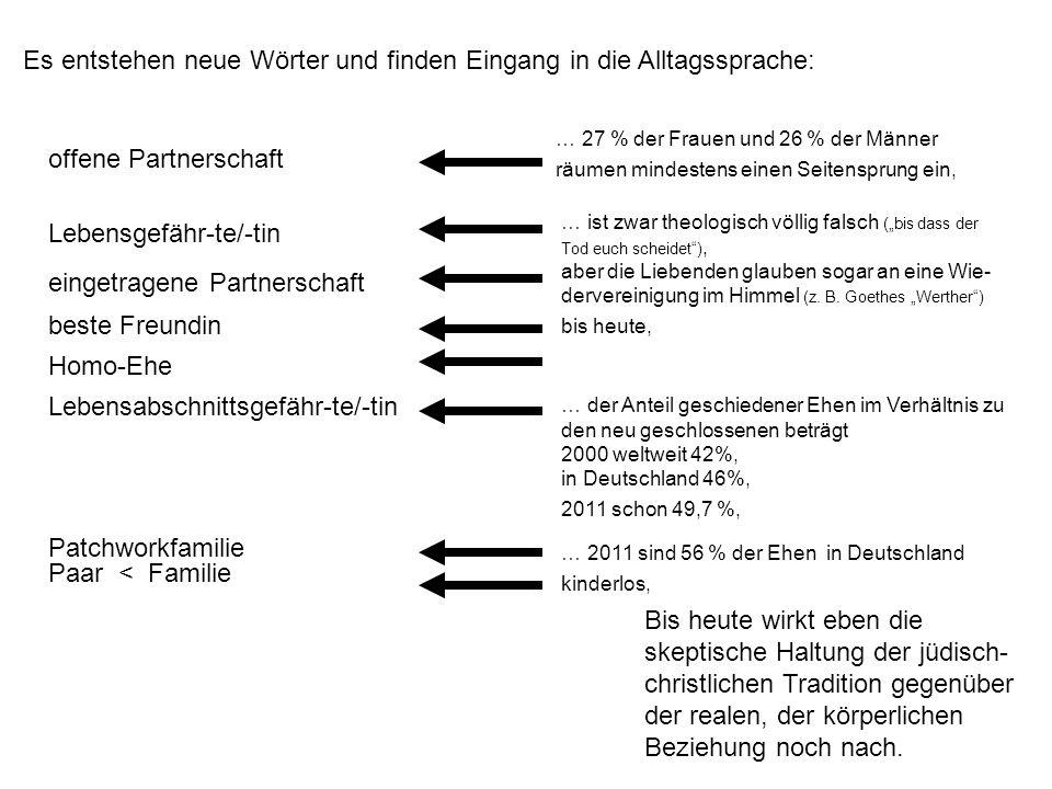 … 2011 sind 56 % der Ehen in Deutschland kinderlos, … 27 % der Frauen und 26 % der Männer räumen mindestens einen Seitensprung ein, Bis heute wirkt eben die skeptische Haltung der jüdisch- christlichen Tradition gegenüber der realen, der körperlichen Beziehung noch nach.