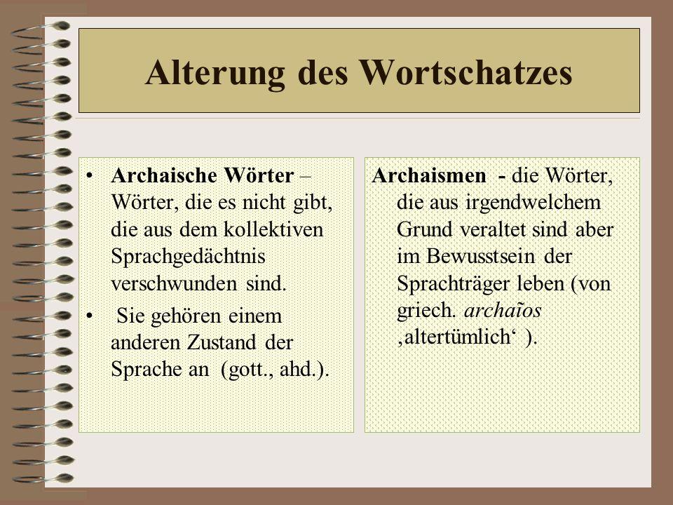 Alterung des Wortschatzes Archaische Wörter – Wörter, die es nicht gibt, die aus dem kollektiven Sprachgedächtnis verschwunden sind.