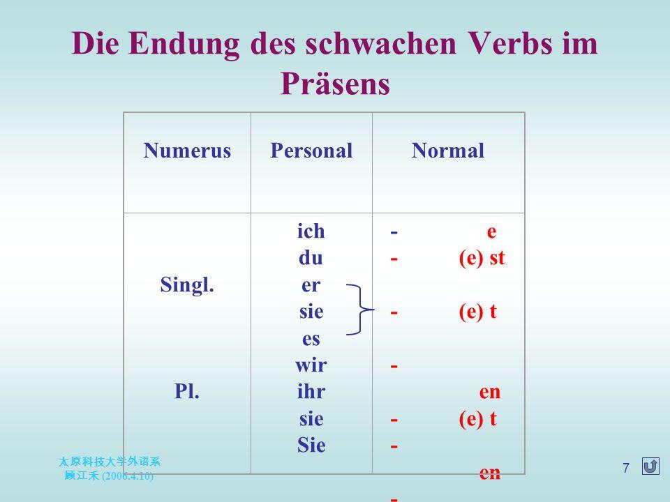太原科技大学外语系 顾江禾 (2006.4.10) 7 Die Endung des schwachen Verbs im Präsens NumerusPersonalNormal Singl.