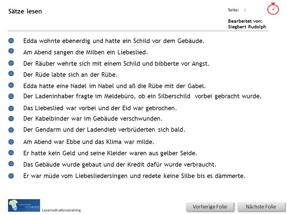 Übungsart: Titel: Quelle: Seite: Bearbeitet von: Siegbert Rudolph Lesemotivationstraining 9 Was passt.