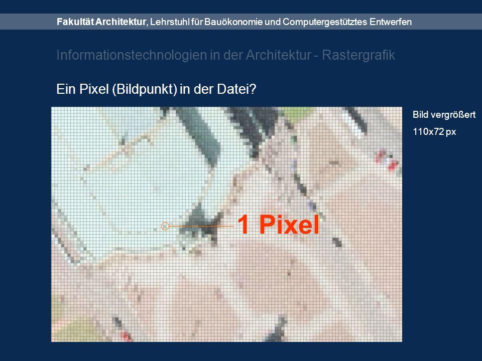 Fakultät Architektur, Lehrstuhl für Bauökonomie und Computergestütztes Entwerfen Informationstechnologien in der Architektur - Rastergrafik Ein Pixel (Bildpunkt) in der Datei.