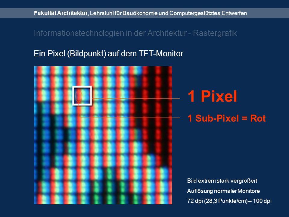 Fakultät Architektur, Lehrstuhl für Bauökonomie und Computergestütztes Entwerfen Informationstechnologien in der Architektur - Rastergrafik Ein Pixel (Bildpunkt) auf dem TFT-Monitor 1 Pixel Bild extrem stark vergrößert Auflösung normaler Monitore 72 dpi (28,3 Punkte/cm) – 100 dpi 1 Sub-Pixel = Rot