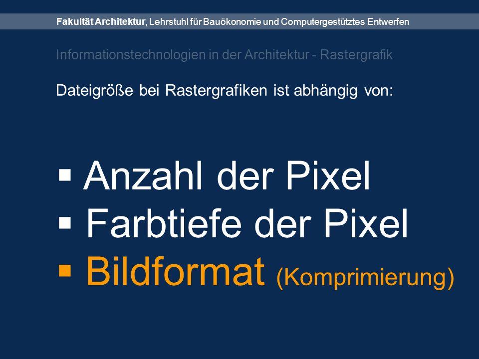 Fakultät Architektur, Lehrstuhl für Bauökonomie und Computergestütztes Entwerfen Informationstechnologien in der Architektur - Rastergrafik Dateigröße bei Rastergrafiken ist abhängig von:  Anzahl der Pixel  Farbtiefe der Pixel  Bildformat (Komprimierung)