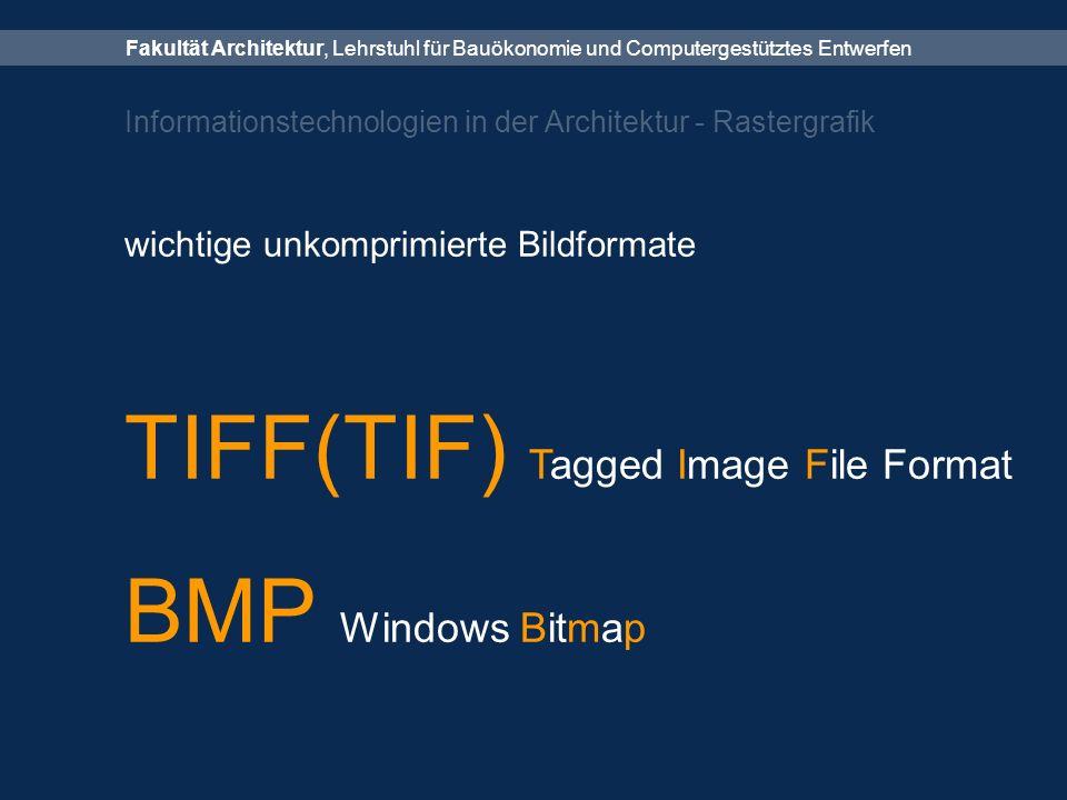 Fakultät Architektur, Lehrstuhl für Bauökonomie und Computergestütztes Entwerfen Informationstechnologien in der Architektur - Rastergrafik wichtige unkomprimierte Bildformate TIFF(TIF) Tagged Image File Format BMP Windows Bitmap