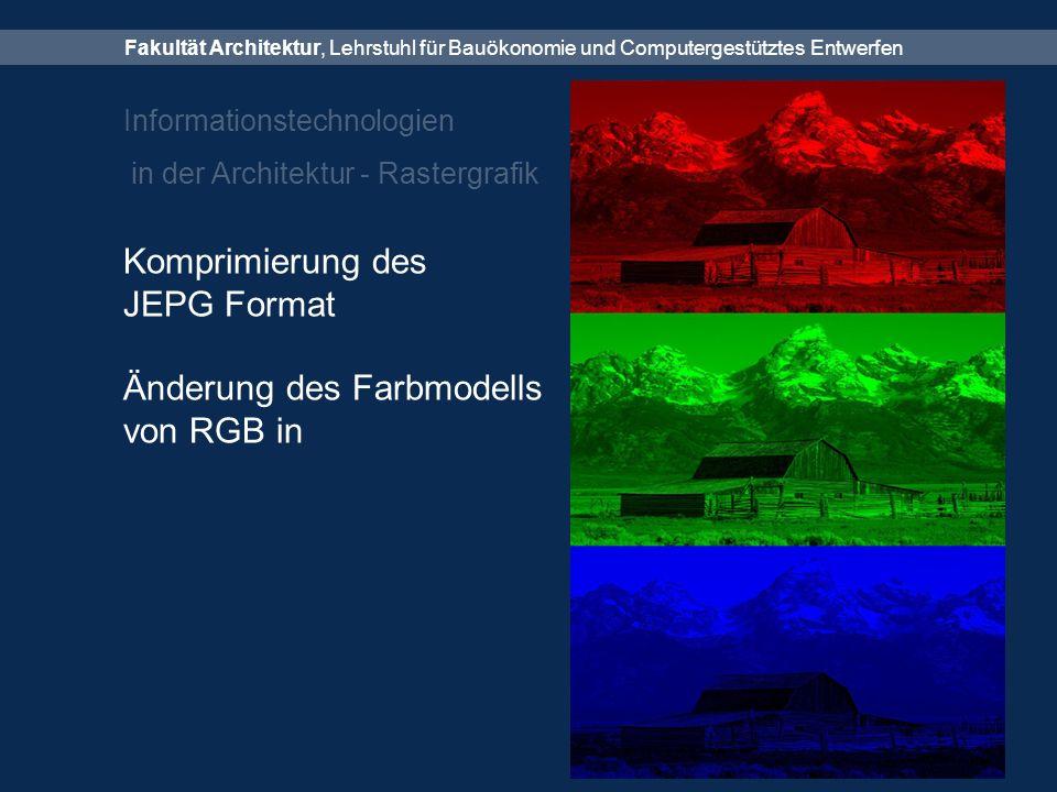 Fakultät Architektur, Lehrstuhl für Bauökonomie und Computergestütztes Entwerfen Informationstechnologien in der Architektur - Rastergrafik Komprimierung des JEPG Format Änderung des Farbmodells von RGB in