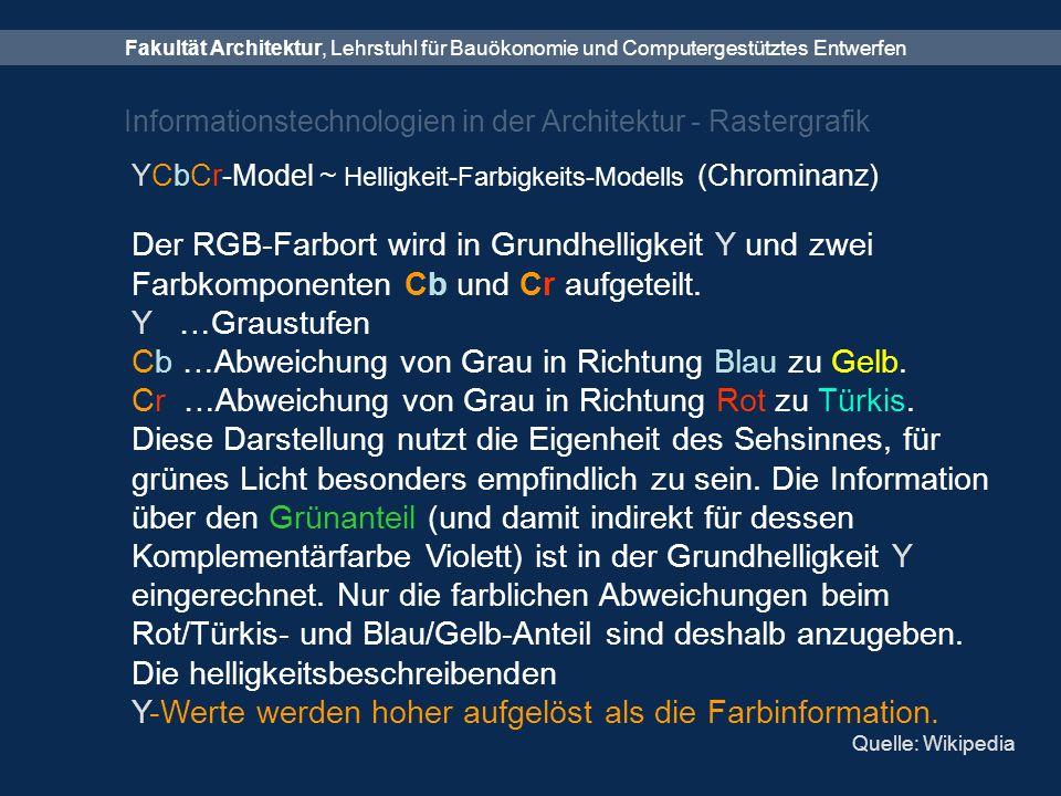 Fakultät Architektur, Lehrstuhl für Bauökonomie und Computergestütztes Entwerfen Informationstechnologien in der Architektur - Rastergrafik YCbCr-Model ~ Helligkeit-Farbigkeits-Modells (Chrominanz) Der RGB-Farbort wird in Grundhelligkeit Y und zwei Farbkomponenten Cb und Cr aufgeteilt.